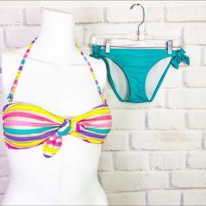 Victoria's Secret Striped Neon Bandeau Bikini Set